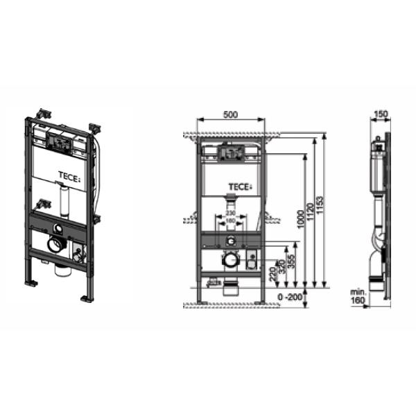 Инсталляция TeceProfil 9300044 для установки унитаза TOTO Neorest (h = 1120 мм) - 1