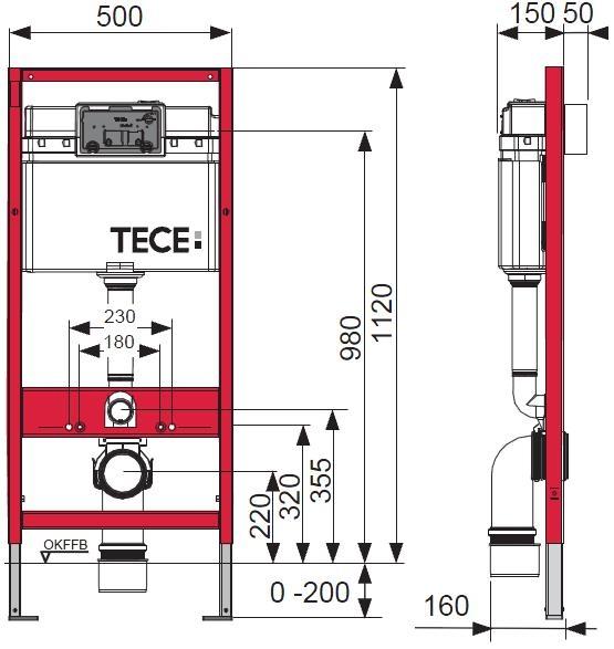 Инсталляция для подвесного унитаза TECE base 9400001 - 1