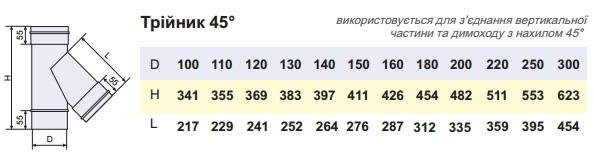 Трійник димохідний нержавійка 45° сталь: 0,8 мм - 1