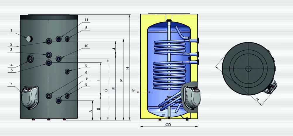 Бойлер ELDOM GREEN LINE 200 (2 теплообмінника) - 2