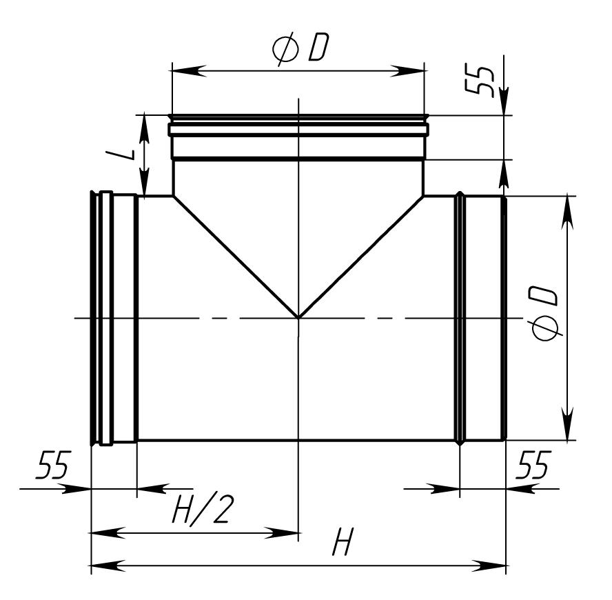 Трійник димохідний нержавійка 87° сталь: 0,5 мм - 2