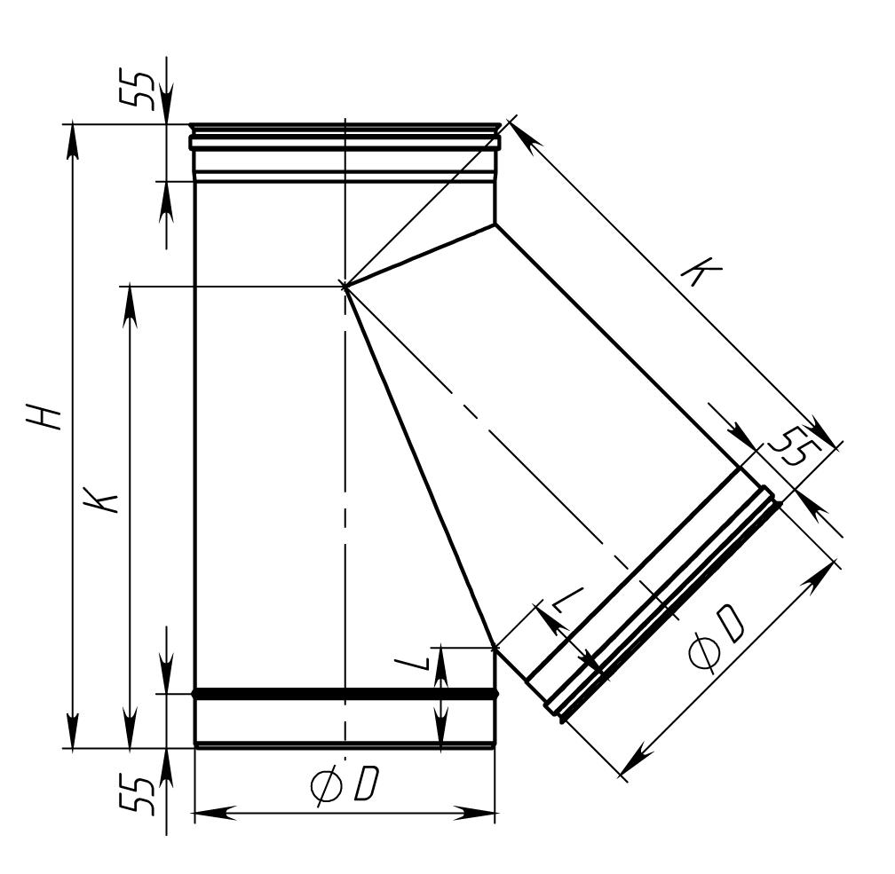 Трійник димохідний нержавійка 45° сталь: 0,8 мм - 2