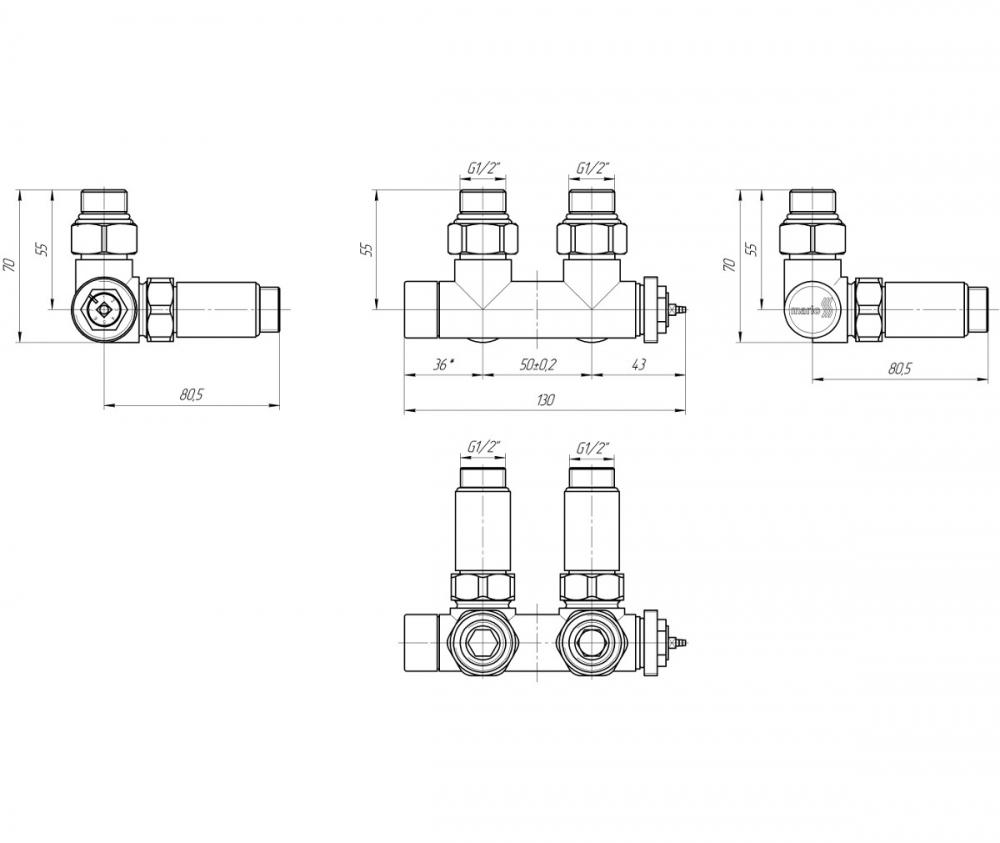 """Терморегулюючий кран Маріо 50мм, G1 / 2 """"комплект - 1"""