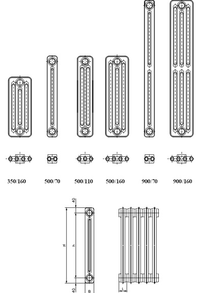 Чавунні радіатори Kalor 350/160 - 3