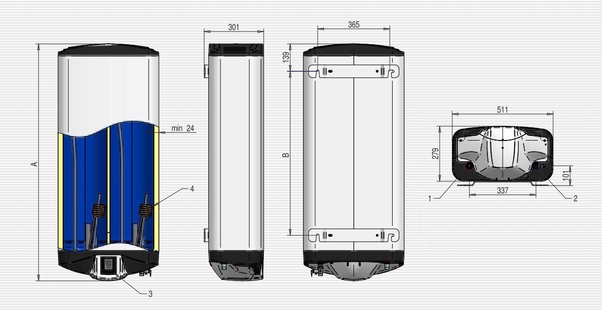 Бойлер ELDOM GALANT DU080 Мокрий тен - 9