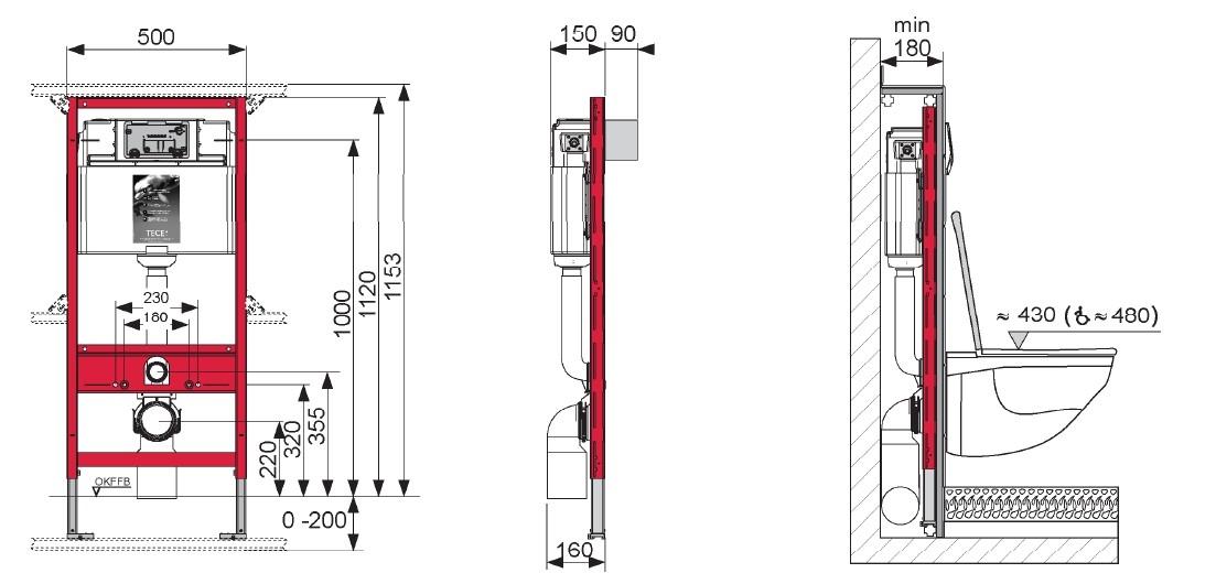 Інсталяція ТЕСЕ для підвісного унітазу з фронтальним положенням панелі зливу, висотою 1120 мм  - 1