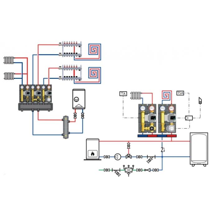 Насосна група з термостатичним змішувальним клапаном 32G.DN25 (БЕЗ НАСОСА) 25-50 - 1