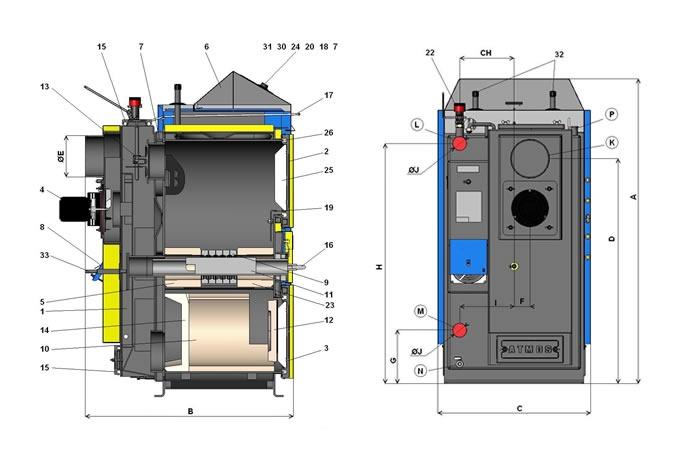 Твердопаливний (Піролізний) котел Atmos AC 25 S - 1