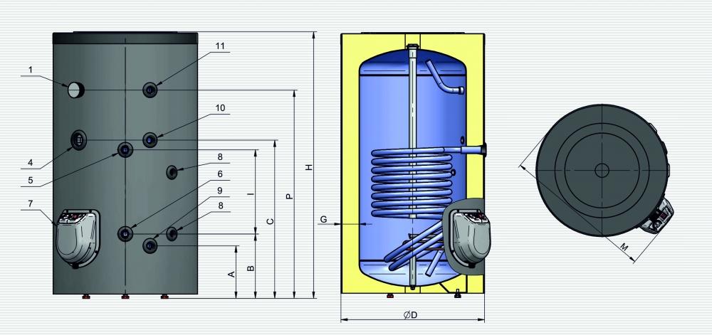 Водонагрівач ELDOM GREEN LINE 200л  з одним теплообмінником - 2