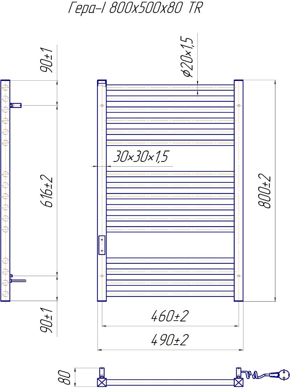 Рушникосушка нержавійка Mario Гера І-800x500/80 TR таймер-регулятор - 5