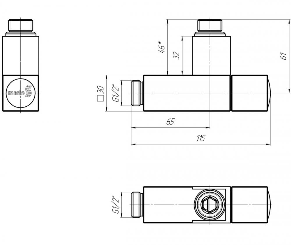 "Кран для рушникосушки кутовий квадрат, G1 / 2 ""комплект 2шт - 1"