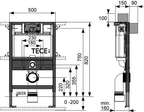 Інсталяція ТЕСЕ для підвісного унітазу з фронтальним  або горизонтальним положенням панелі зливу, висотою 820 мм - 1