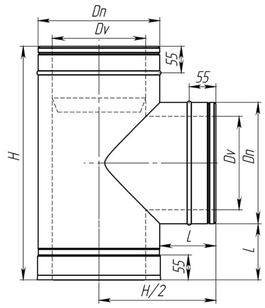 Трійник димохідний нержавійка з теплоізоляцією в нержавійці 87° сталь: 0,8 мм - 2