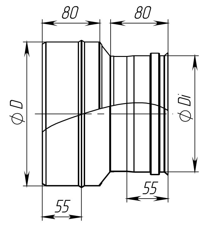 Перехід димохідний нержавійка сталь : 0,8 мм - 1