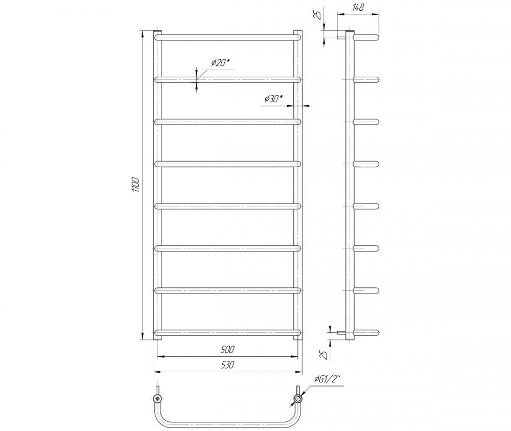 Рушникосушка нержавійка Mario Стандарт HP 1100x530/500 - 1
