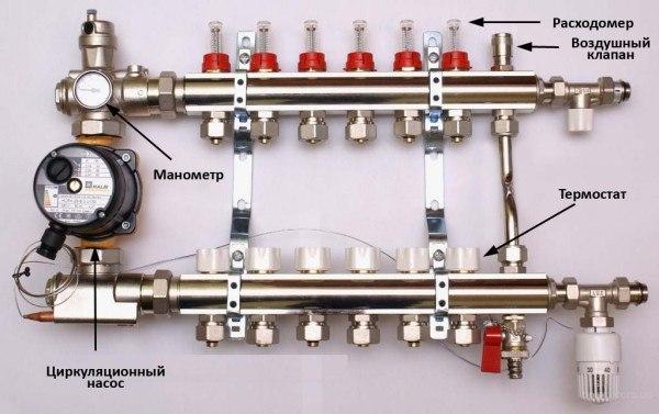 """Колектор з витратоміром під євроконус 16х3 / 4 """"1"""" на 3 виходи - 4"""