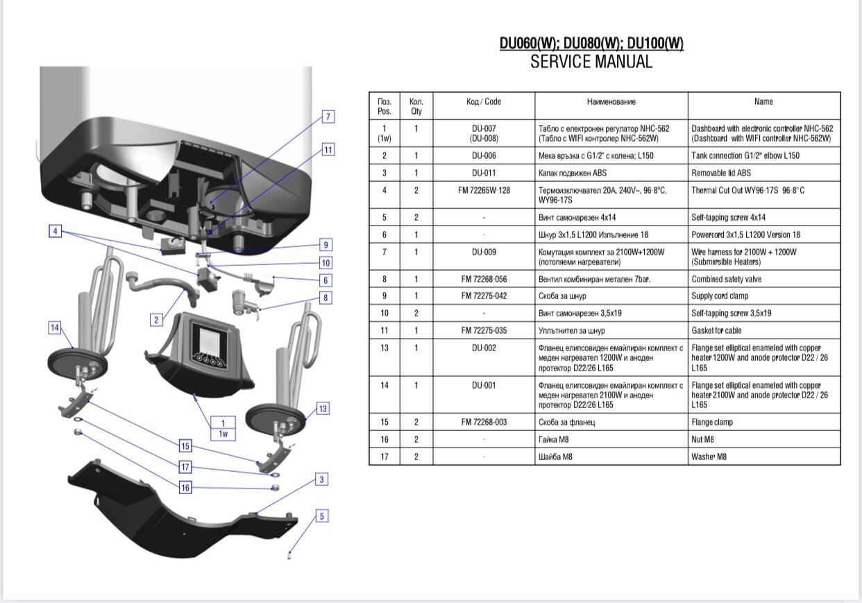Бойлер ELDOM GALANT DU080 Мокрий тен - 8