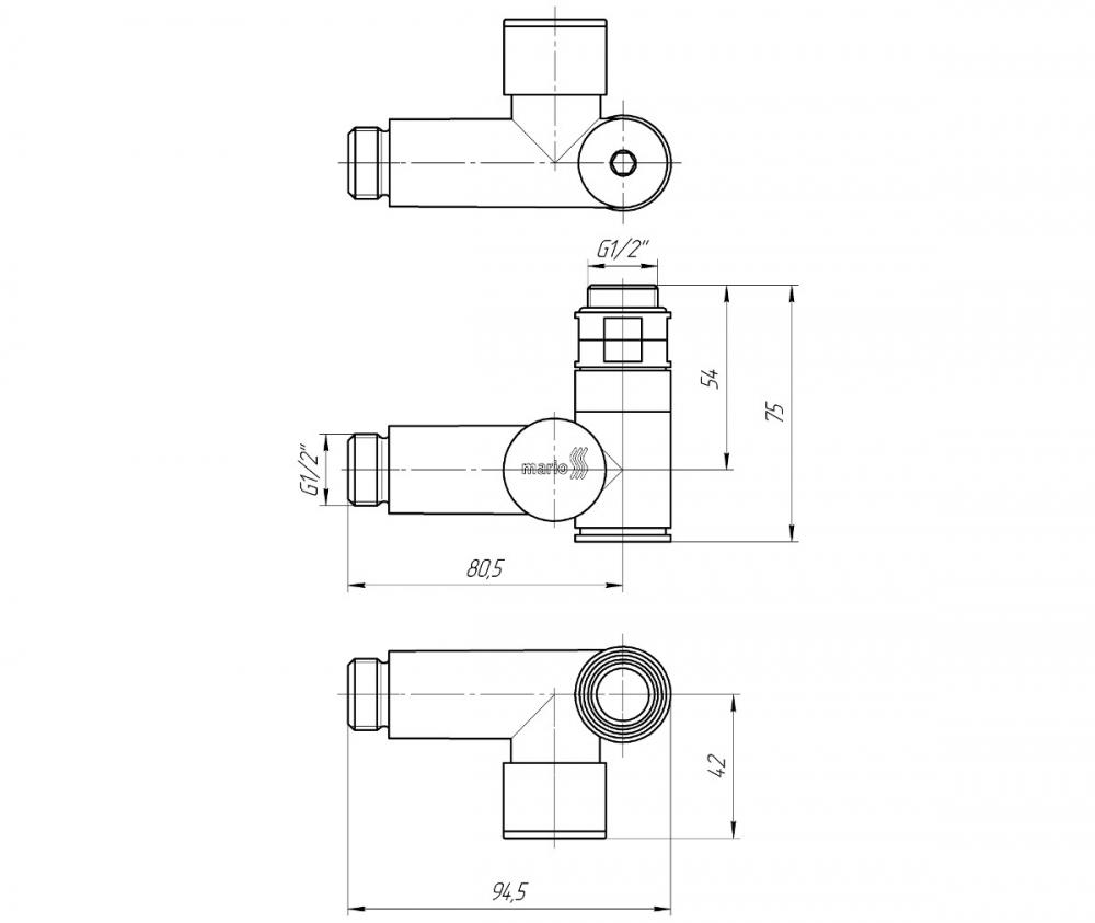 """Кран кутовий під ТЕН, G1 / 2 """"комплект 2шт - 1"""